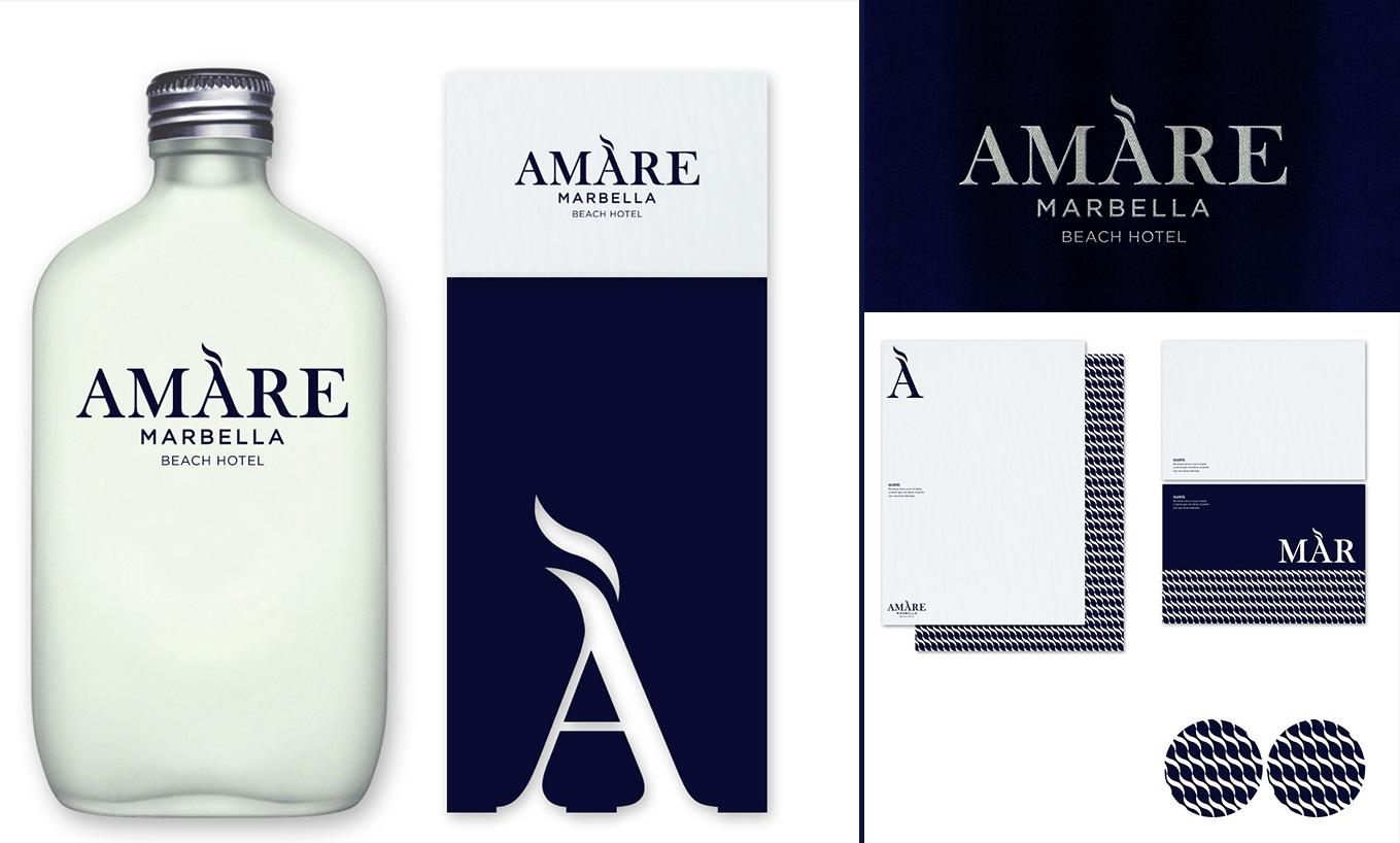 logotipo e imagen de marca amare, marbella hotel fuertehoteles adultos - AN Publicidad Málaga