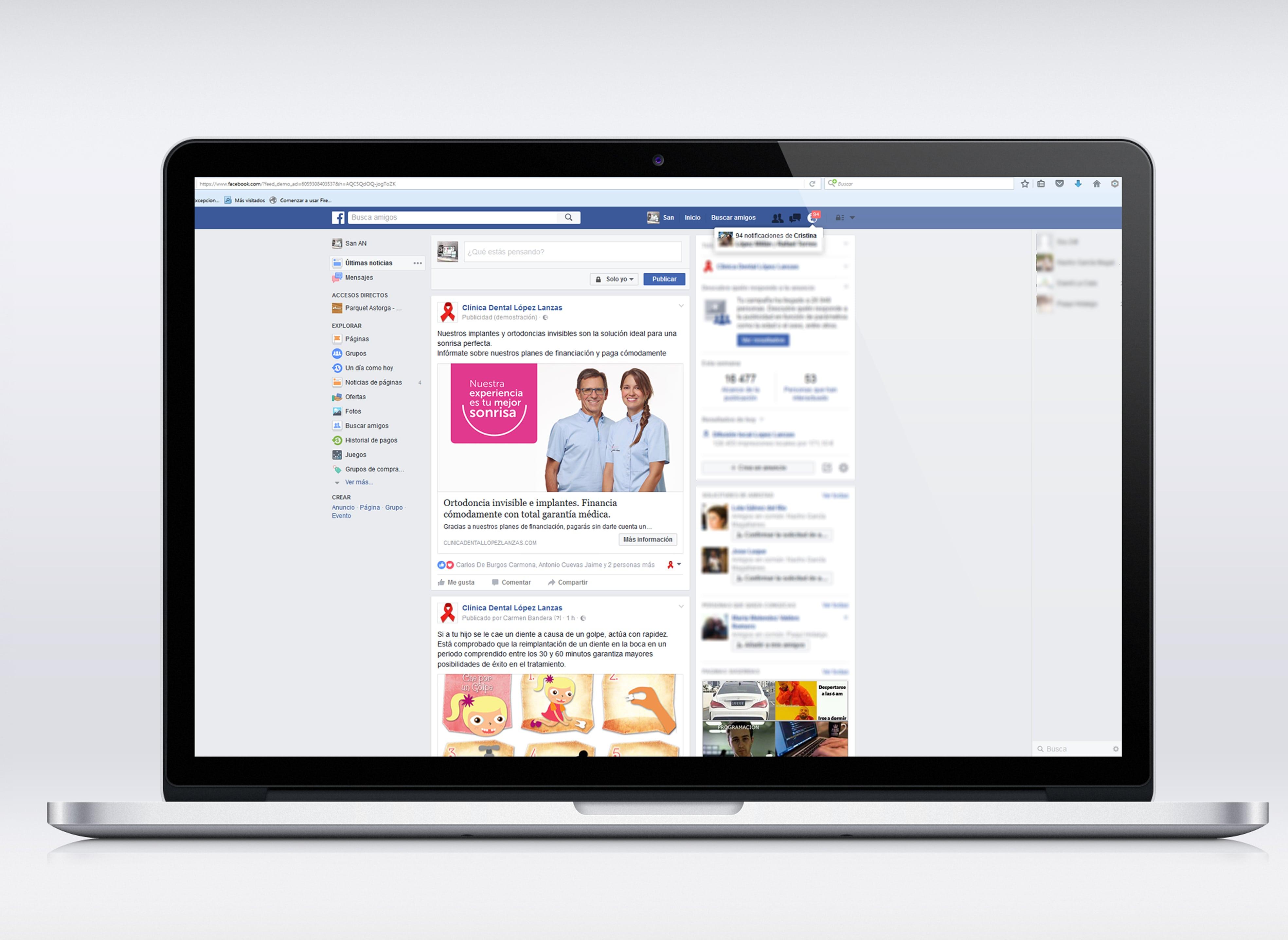 campaña en Facebook Clínica Dental Lopez Lanzas- Anpublicidad