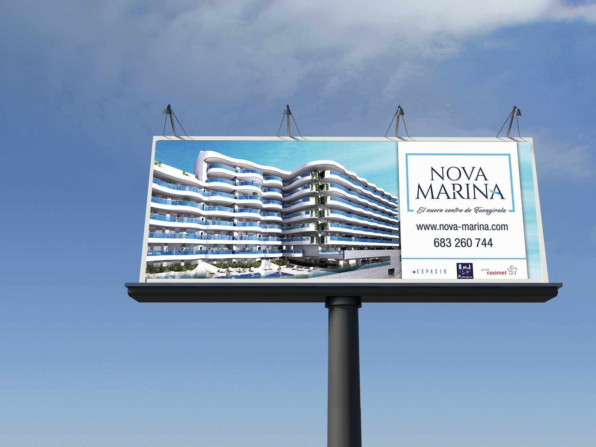 Diseño gráfico Nova Marina - valla