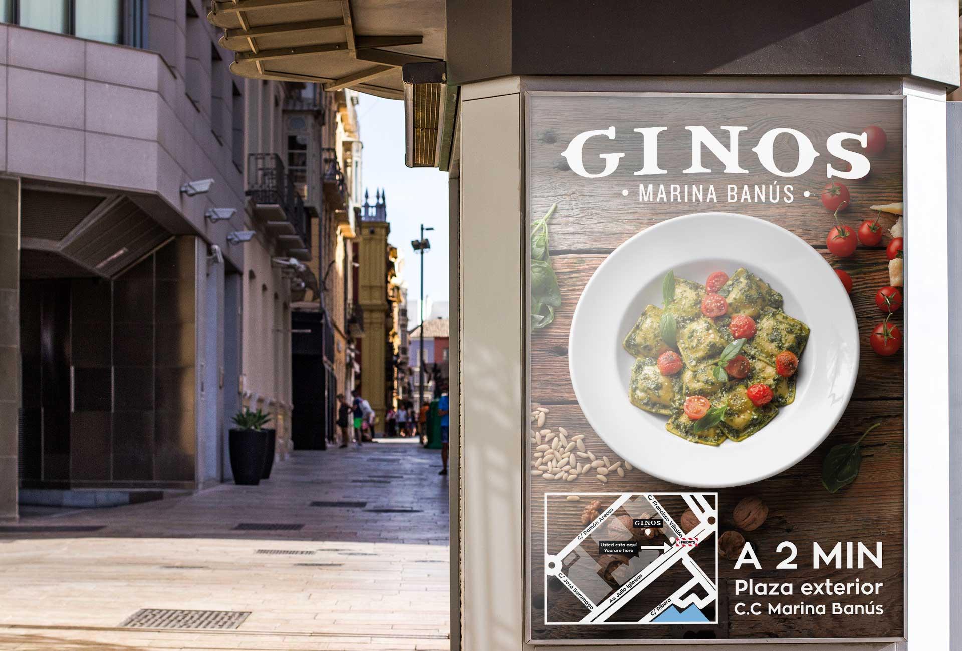 Publicidad exterior para Ginos- mupis