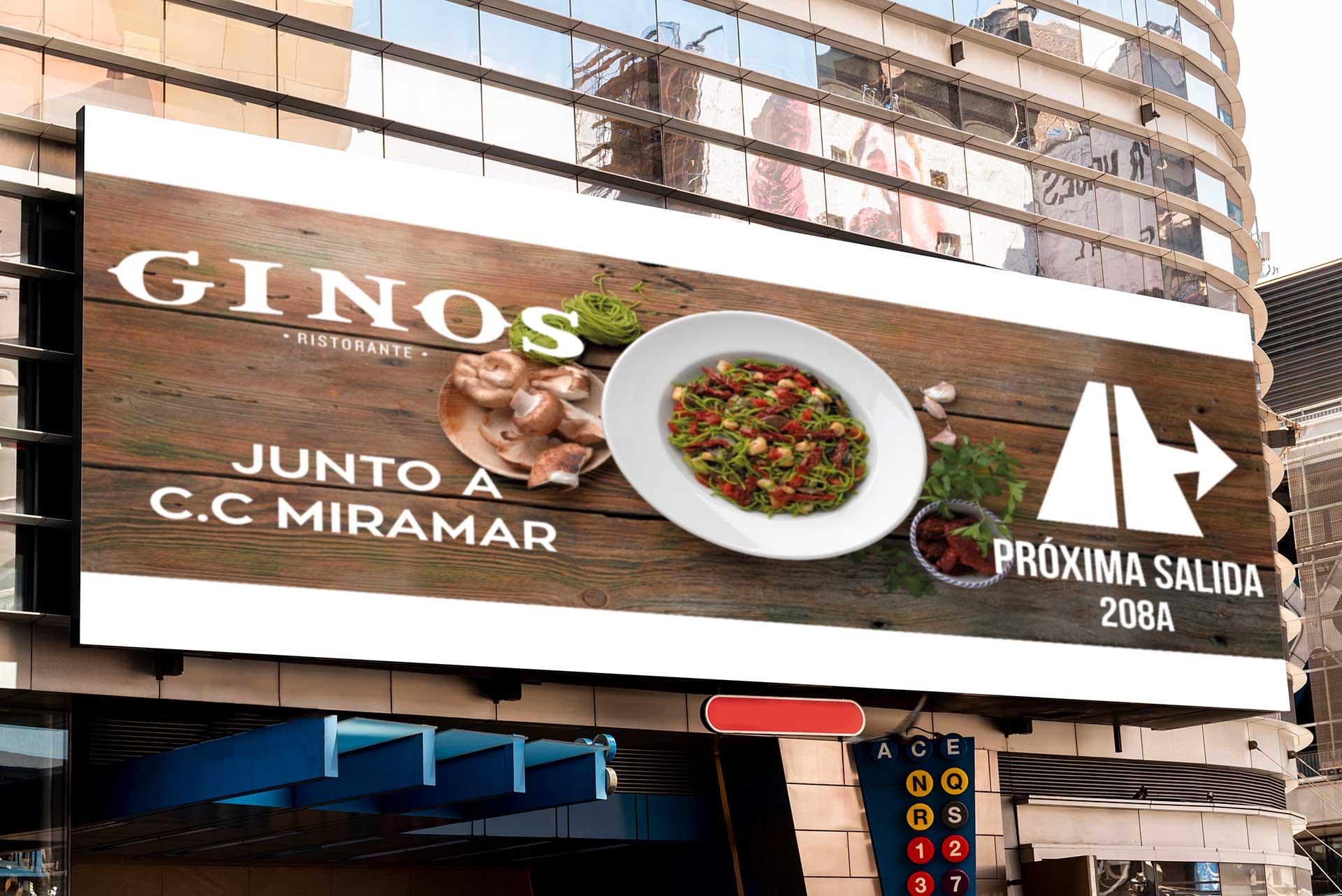 Publicidad exterior para Ginos- valla